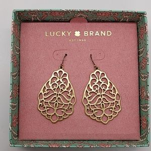 NWT Lucky Brand Gold Filagree Drop Earrings